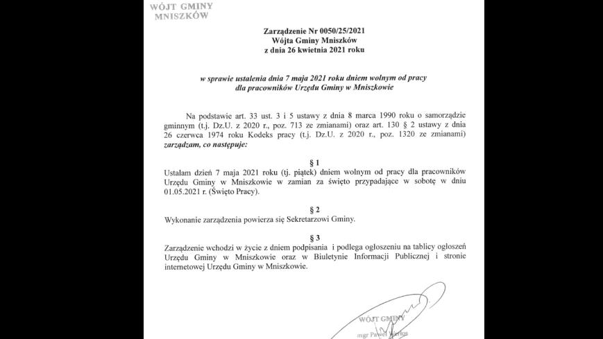 7 maja 2021 r. dniem wolnym od pracy dla pracowników Urzędu Gminy w Mniszkowie