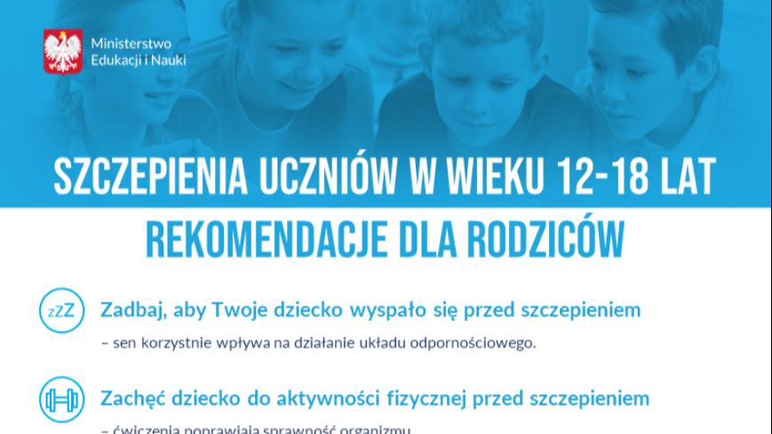 Szczepienia uczniów w wieku 12-18 lat