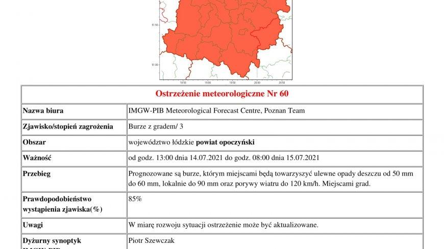 Informacja o ostrzeżeniu burzowym. Burze z gradem.