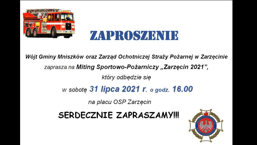 """Zaproszenie na Miting Sportowo-Pożarniczy """"Zarzęcin 2021"""""""